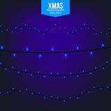 Abstract creative christmas garland light isolated on background. template. Vector illustration clipart art for Xmas Royalty Free Stock Photo