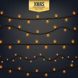 Abstract creative christmas garland light isolated on background. template. Vector illustration clipart art for Xmas Stock Photography