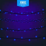 Abstract creative christmas garland light isolated on background. template. Vector illustration clipart art for Xmas Stock Photos