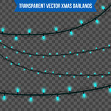 Abstract creative christmas garland light isolated on background. template. Vector illustration clipart art for Xmas holiday decor Stock Images