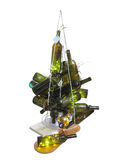 Abstract creative Christmas tree made of bottles isolated over w Royalty Free Stock Images