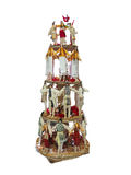 Abstract creative Christmas tree made of dolls isolated over whi Stock Photos