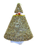 Abstract creative Christmas tree made from partridge egg isolate Stock Image