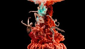 Abstract creative collage formed by color dissolving in water. On black background. Bright combination of colors. Young dancers in clouds of smoke or dissolves royalty free stock photo
