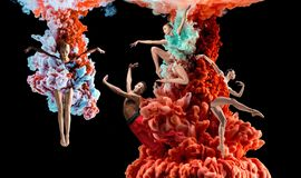 Abstract creative collage formed by color dissolving in water. On black background. Bright combination of colors. Young dancers in clouds of smoke or dissolves royalty free stock images