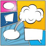 Abstract creative concept comic pop art style blank, layout template with clouds beams and isolated dots background. For. Sale banner, empty speech bubble set vector illustration