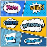 Abstract creative concept comic pop art style blank, layout template with clouds beams and isolated dots background. For. Sale banner, empty speech bubble set royalty free illustration