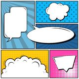 Abstract creative concept comic pop art style blank, layout template with clouds beams and isolated dots background. For. Sale banner, empty speech bubble set stock illustration