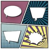 Abstract creative concept comic pop art style blank, layout template with clouds beams and isolated dots background. For sale. Banner, empty speech bubble set stock illustration