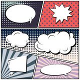 Abstract creative concept comic pop art style blank, layout template with clouds beams and isolated dots background. For sale. Banner, empty speech bubble set vector illustration