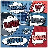 Abstract creative concept comic pop art style blank, layout template with clouds beams and isolated dots background. For sale. Banner, empty speech bubble set royalty free illustration