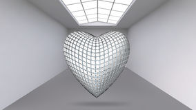 Abstract Creative concept vector background of geometric shapes - Heart 3d in the large Studio room with window. Modern Stock Photos