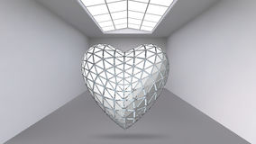 Abstract Creative concept vector background of geometric shapes - Heart 3d in the large Studio room with window. Modern Stock Photography