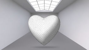Abstract Creative concept vector background of geometric shapes - Heart 3d in the large Studio room with window. Modern. Office. Realistic Vector Illustration Royalty Free Stock Photo