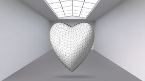 Abstract Creative concept vector background of geometric shapes - Heart 3d in the large Studio room with window. Modern. Office. Realistic Vector Illustration Stock Photo
