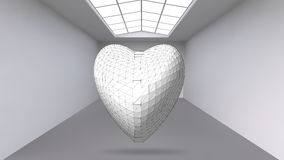 Abstract Creative concept vector background of geometric shapes - Heart 3d in the large Studio room with window. Modern. Office. Realistic Vector Illustration Stock Images