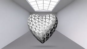Abstract Creative concept vector background of geometric shapes - Heart 3d in the large Studio room with window. Modern Stock Photo