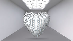 Abstract Creative concept vector background of geometric shapes - Heart 3d in the large Studio room with window. Modern. Office. Realistic Vector Illustration Royalty Free Stock Image