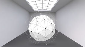 Abstract Creative concept vector background of geometric shapes the lines connected to points in the large Studio room. With window. Modern office. Realistic Stock Image