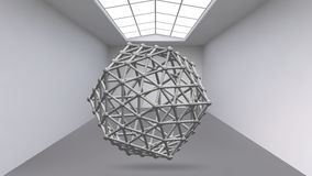 Abstract Creative concept vector background of geometric shapes the lines connected to points in the large Studio room. With window. Modern office. Realistic Royalty Free Stock Photos