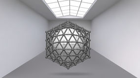 Abstract Creative concept vector background of geometric shapes the lines connected to points in the large Studio room. With window. Modern office. Realistic Stock Photography