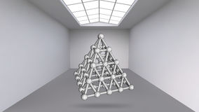 Abstract Creative concept vector background of geometric shapes - pyramid in the large Studio room with window. Modern. Office. Realistic Vector Illustration Royalty Free Illustration