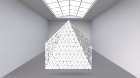 Abstract Creative concept vector background of geometric shapes - pyramid in the large Studio room with window. Modern. Office. Realistic Vector Illustration Royalty Free Stock Image