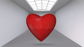 Abstract Creative concept vector background of geometric shapes - red Heart 3d in the large Studio room with window Stock Photography