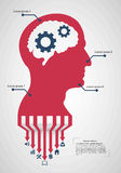Abstract creative concept vector head siluet with gears. For web and mobile application on background stock illustration