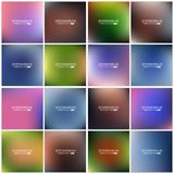 Abstract Creative concept vector multicolored blurred background set. For Web and Mobile Applications, art illustration Royalty Free Stock Photos
