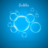 Abstract Creative concept vector shiny transparent bubbles for Web and Mobile Applications isolated on blue background. Aqua art illustration template design Royalty Free Stock Photography