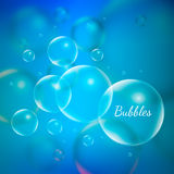 Abstract Creative concept vector shiny transparent bubbles for Web and Mobile Applications isolated on blue background. Aqua art illustration template design Royalty Free Stock Images