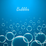 Abstract Creative concept vector shiny transparent bubbles for Web and Mobile Applications isolated on blue background. Aqua art illustration template design Royalty Free Stock Photo