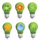 Abstract creative eco bulb sign set Royalty Free Stock Image