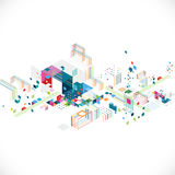 Abstract creative geometrical architect and city concept with colorful graphic and triangle, line, color decoration, vector Stock Photo