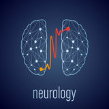 Abstract creative neurology concept with human brain Royalty Free Stock Photography