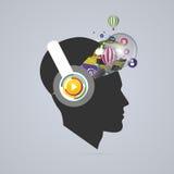 Abstract creative open head. Genius mind. Music artist. Vector Stock Photo