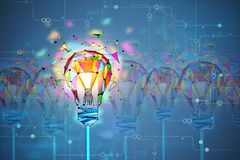 Innovation and creativity concept. Abstract creative polygonal colorful light bulb background. Innovation and creativity concept. 3D Rendering vector illustration