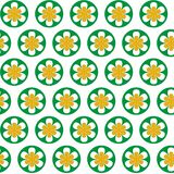 Abstract creative seamless pattern with flowers and circles stock images