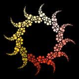 Abstract creative sun logo design element. Vector illustration isolated on black background stock photos