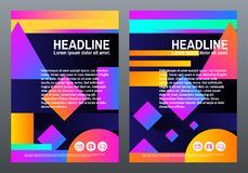 Abstract creative templates. Covers with geometric design. Bright gradients and shapes on dark background. Trendy vector. Illustration Stock Photography