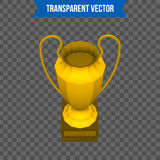 Abstract creative trophy cup. Isolated mockup on background. Isometric 3D style template. For web and mobile app clipart. Art. Concept idea design element Stock Images