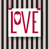 Abstract creative vector design layout with lettering - love. Handwritten calligraphy poster. Stock Image