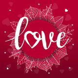 Abstract creative vector design layout with lettering - love. Handwritten calligraphy poster.. Romantic card on Valentines day. Modern concept background, art Royalty Free Stock Photos
