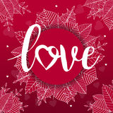 Abstract creative vector design layout with lettering - love. Handwritten calligraphy poster.  Stock Images