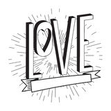 Abstract creative vector design layout with lettering - love. Royalty Free Stock Photo