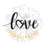 Abstract creative vector design layout with lettering - love. Handwritten modern calligraphy. Poster. Romantic card on Valentines day. Vintage concept Royalty Free Stock Photo