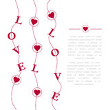 Abstract creative vector design layout with lettering - love. Romantic card on Valentines day. Modern concept background Royalty Free Stock Image