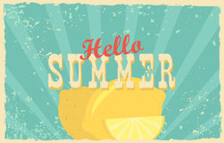 Abstract creative vector design layout with text - hello summer. Vintage concept background, art template, retro. Elements, logo, labels, layout, badge, old vector illustration
