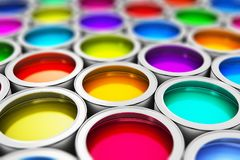 Color paint cans. Abstract creativity concept: 3D render illustration of the macro view of group of tin metal cans with color paint dye with selective focus Stock Image